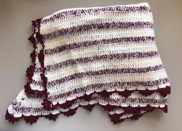 White Maroon Winter Crochet Shawl