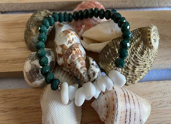 White Marble & Green Beads Bracelet