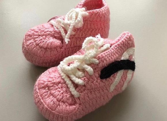 Pink Crochet Baby Booties-Sport