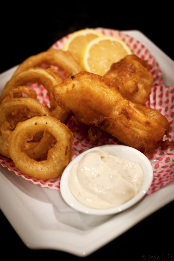 Beer Battered Fish and Onion Rings with Lemon Mayonnaise