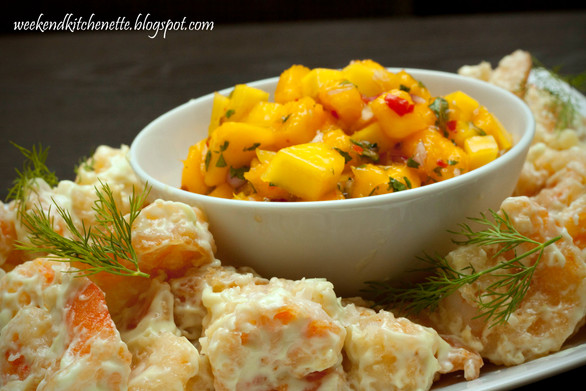Crispy Wasabi Mayo Shrimps with Mango Salsa