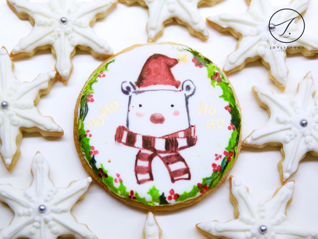 Christmas Teddy & Snowflakes