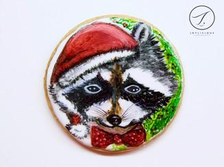 Christmas Raccoon Cookie