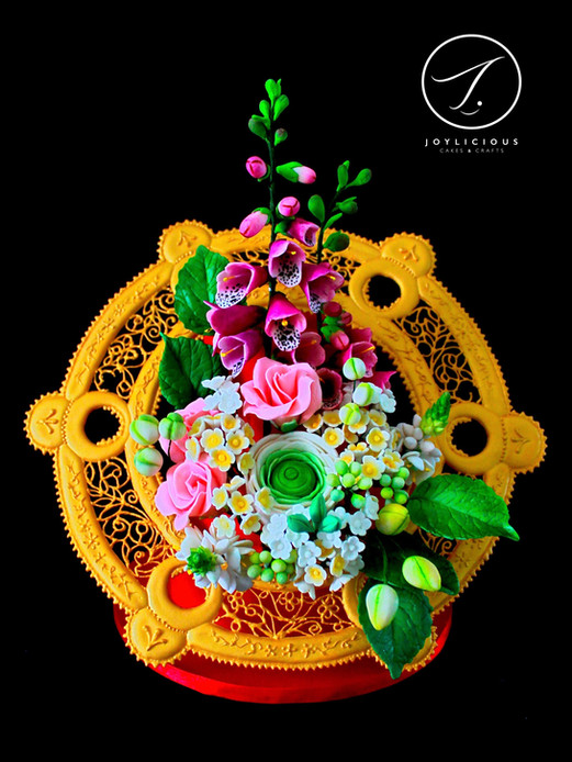 Flower Bouquet In The Golden Frame