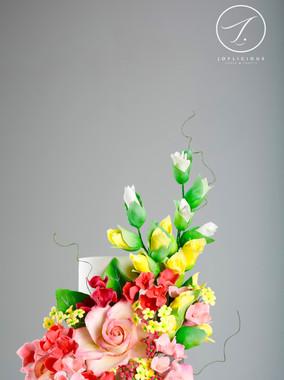 Sugar White & Yellow Gladiolus, Baby Pink Rose & Fillers