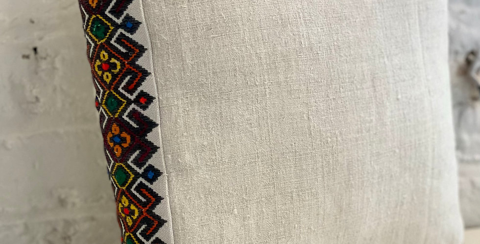 Hand Embroidered Vintage Linen Decorative Pillow Zhaba