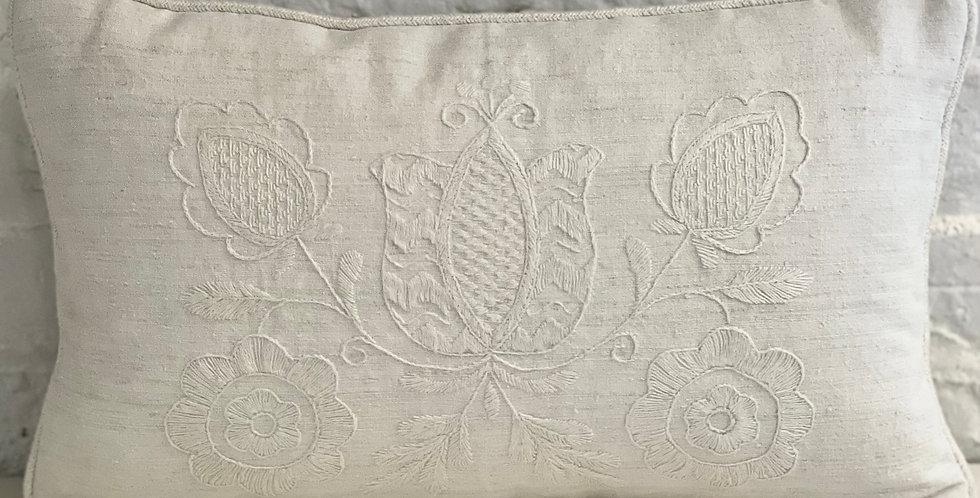 Hand Embroidered Vintage Linen Decorative Pillow Vesna