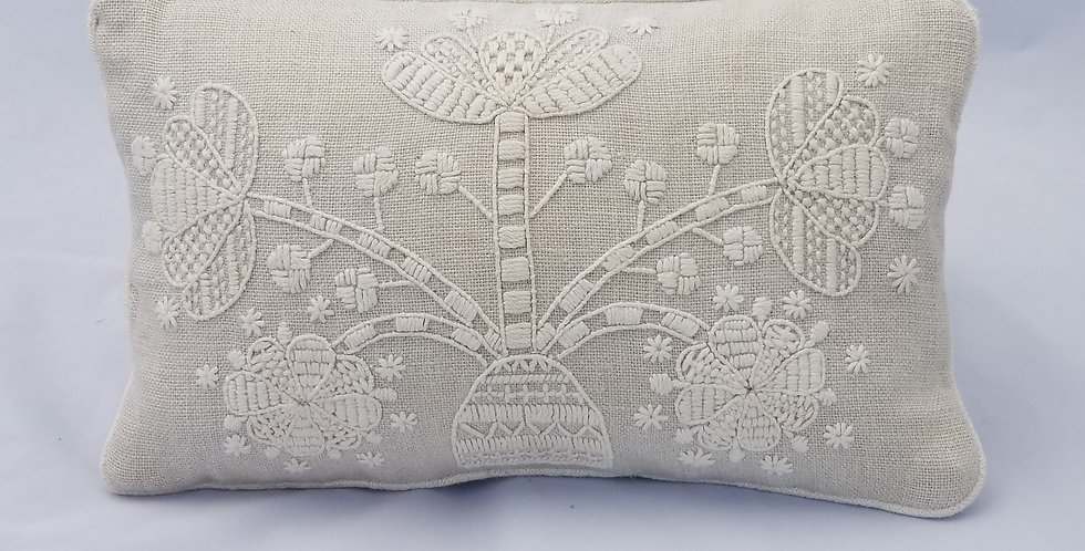 Hand Embroidered Decorative Pillow Bloom