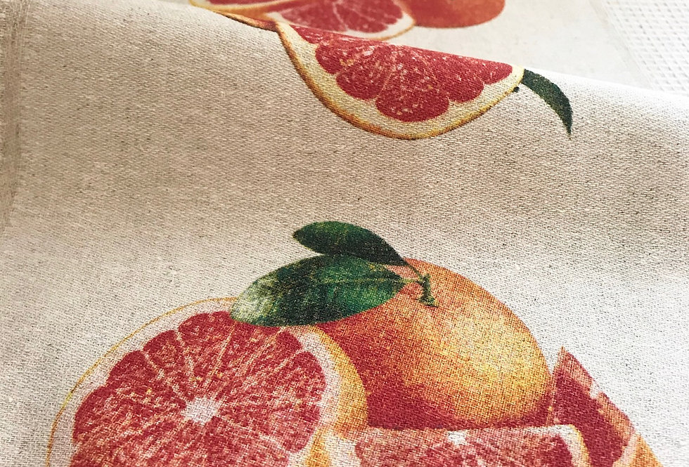 Luxury natural linen kitchen tea towels with red orange patterns