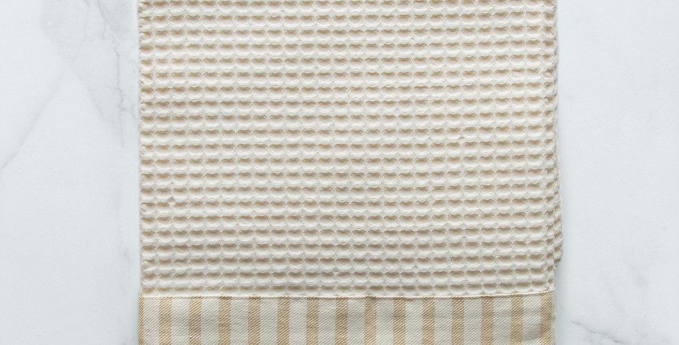 Italian made luxury ivory waffle kitchen tea towel