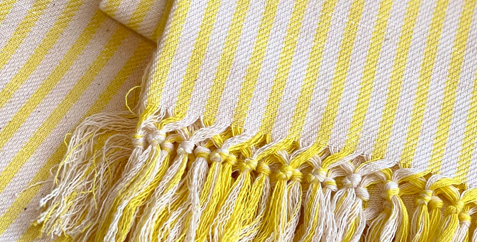 Italian made luxury home towel with yellow stripe and brush
