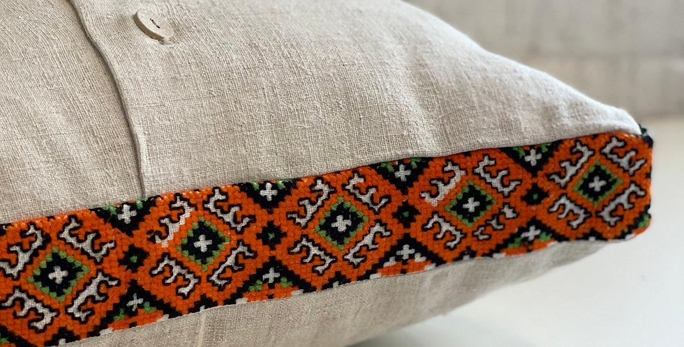 Decorative linen throw pillow