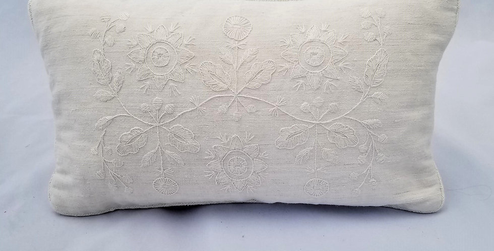 Hand Embroidered Vintage Linen Decorative Pillow