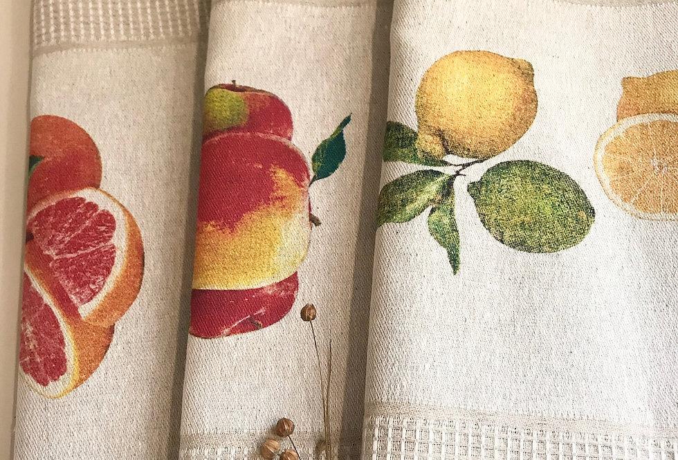 Best natural linen kitchen tea towels set with fruits patterns