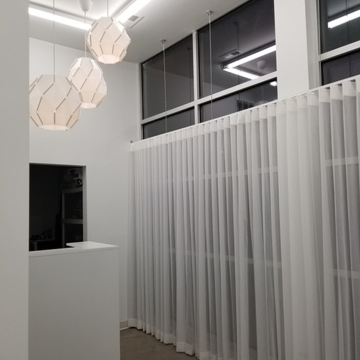 Project: Art Studio  white custom curtains