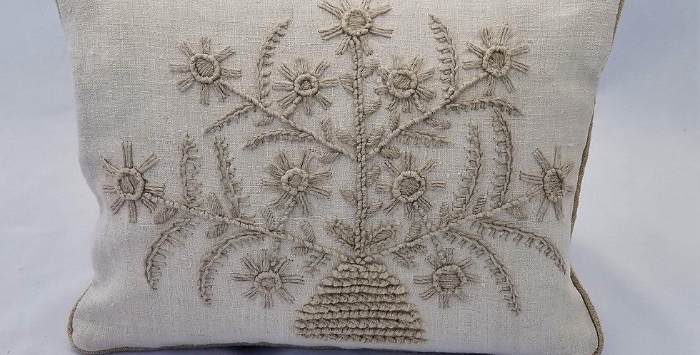 Hand Embroidered Decorative sofa Pillow from linen