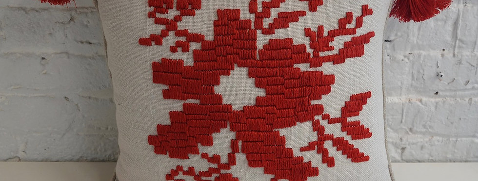 red and white decorative pillow