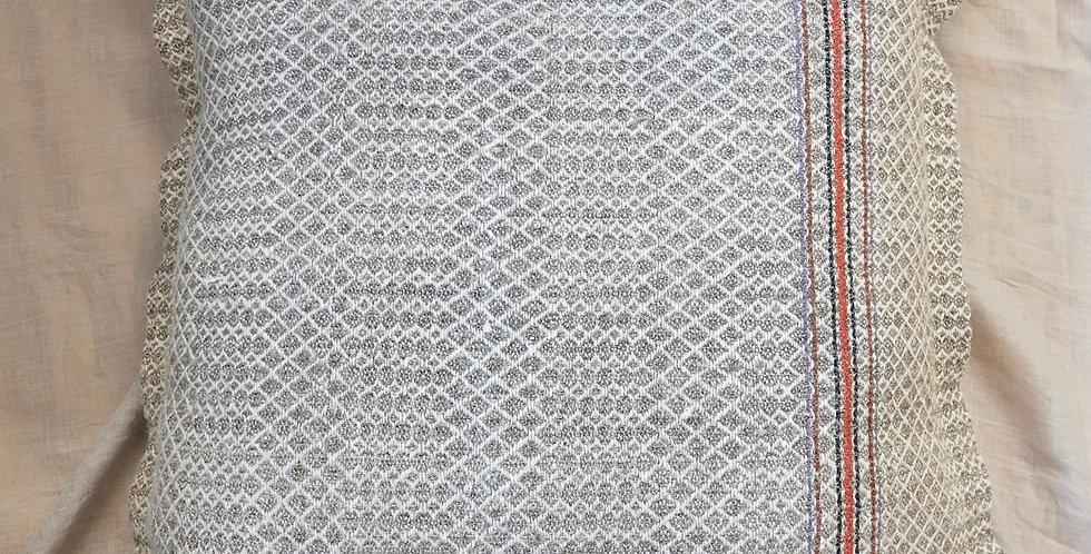 grey linen decorative throw pillow
