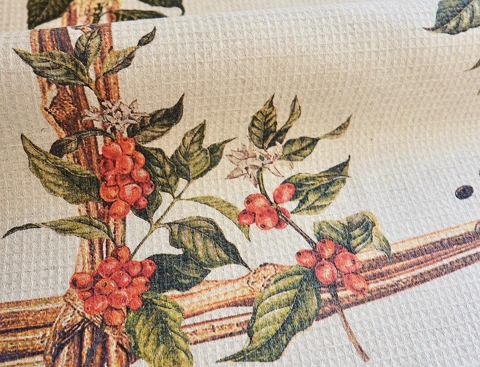 Premium linen kitchen tea towel with fruit