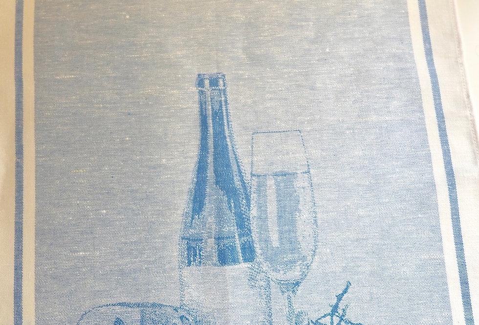 Luxury linen kitchen tea towels with blue wine pattern