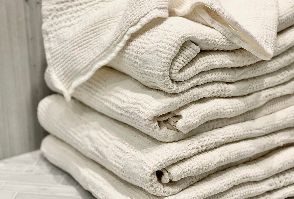 Italian made luxury ivory linen bath towels set