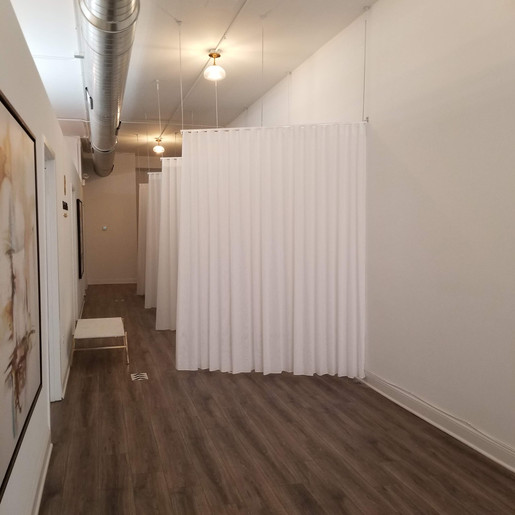 Project: Wax & Skin Lounge  white custom curtains in lounge