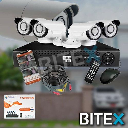Kit De Seguridad Cctv Dvr 4ch Full Hd 1080p + 4 Camaras P2p