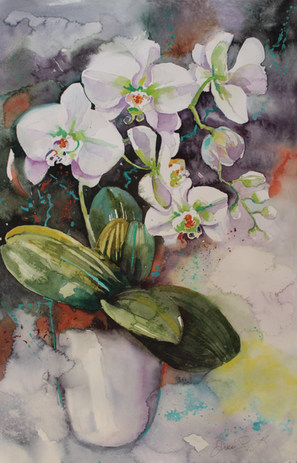 Orchid Drift-38 x 56 cms-Watercolour-Sold