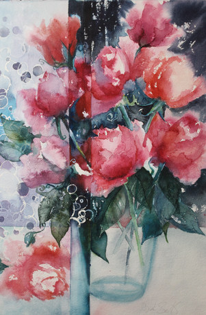 Blooms of Red -38 x 56cms