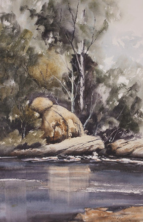 A River Somewhere-38x56cms