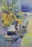 Wrens n Wattle II-Jude Scott-Watercolour