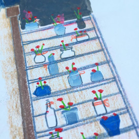 Bloemen op de trap, kleurpotlood