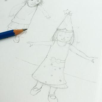 Potlood tekening meisje met tovenaarshoed