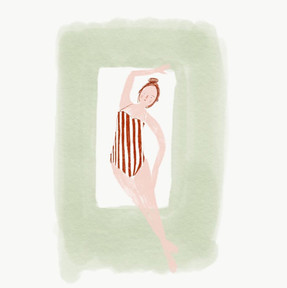 Vrouw in streepjesbadpak, digitale tekening