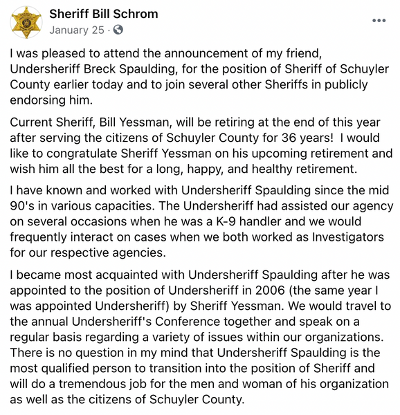 Chemung County Sheriff Bill Schrom