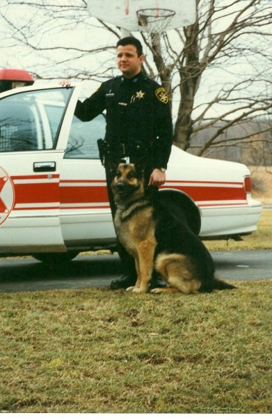 Breck as a Young Deputy with another K9 Dog