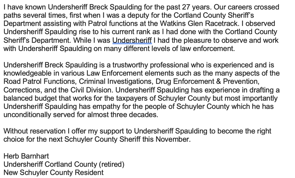 Cortland Co. Retired Undersheriff Herb Barnhart
