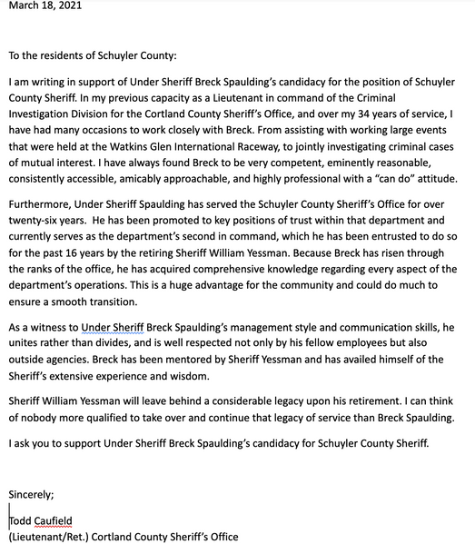 Retired Lt. Deputy Todd Caufield Cortland County