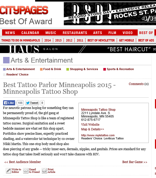 """Yours Truly and all of our female staff of talented tattoo artists won City Pages """"Best Of Twin Cities"""" Award for the best Tattoo and Piercing Shop. I want to thank all of our clients and especially Nikki Time (Owner) for all of their hard work this year, as well as all of our amazing clients/friends/family for all of their support."""