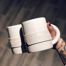 Now these are wedding mugs! 😄 They finally turned out the way I wanted them to; pure whit