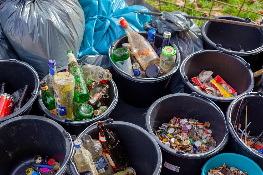 Waste segregating using buckets
