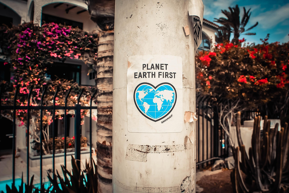 Poster about planet on the power pole