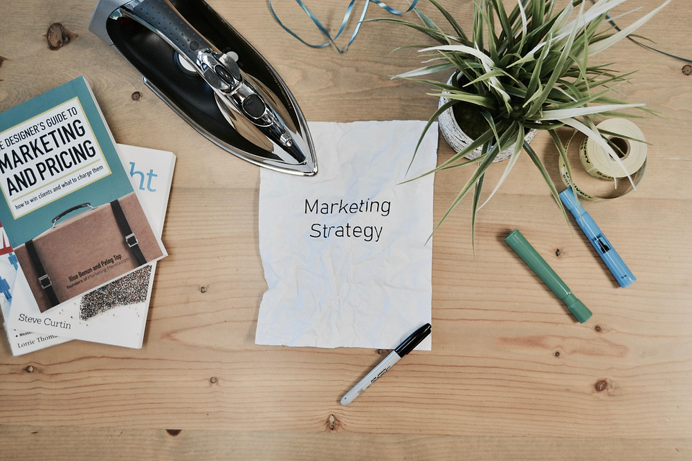A white paper with marketing strategy writings