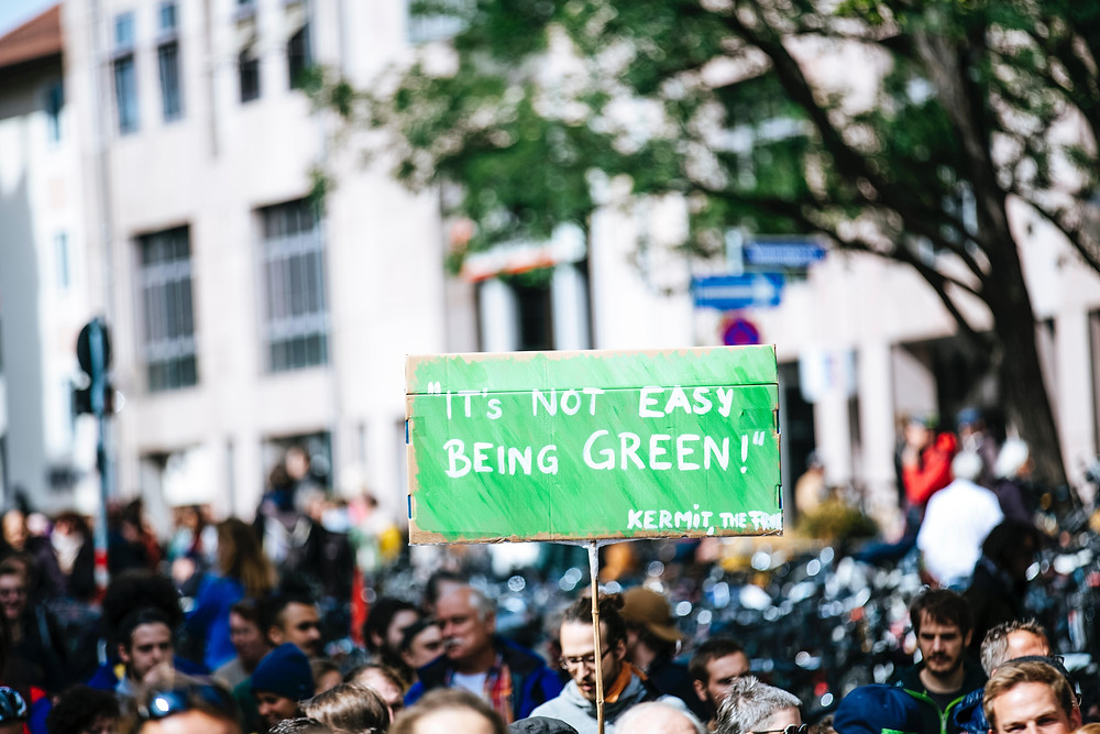 Protest about green living and environment
