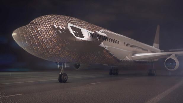 Video-mapping avion