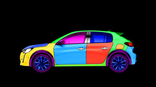 Video-mapping automobile