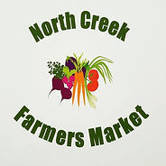 Logo of North Creek Farmers Market: company name surrounding small bushel of illustrated vegetables