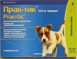 Прак-тик капли на холку от блох для собак от 4,5 до11,0 кг