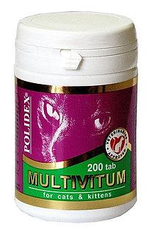 Полидекс Мультивитум  для кошек и котят, банка 200 таб.