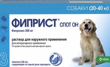ФИПРИСТ Спот Он капли на холку от блох и клещей для собак весом от 20 до 40 кг.